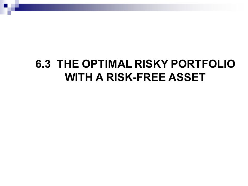 6.3 THE OPTIMAL RISKY PORTFOLIO WITH A RISK-FREE ASSET