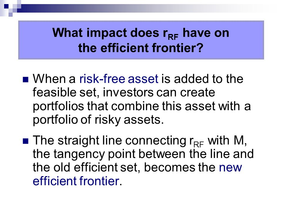 What impact does rRF have on the efficient frontier