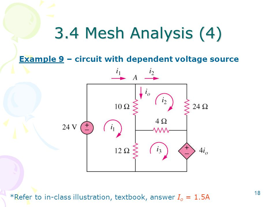 3.4 Mesh Analysis (4) Example 9 – circuit with dependent voltage source.