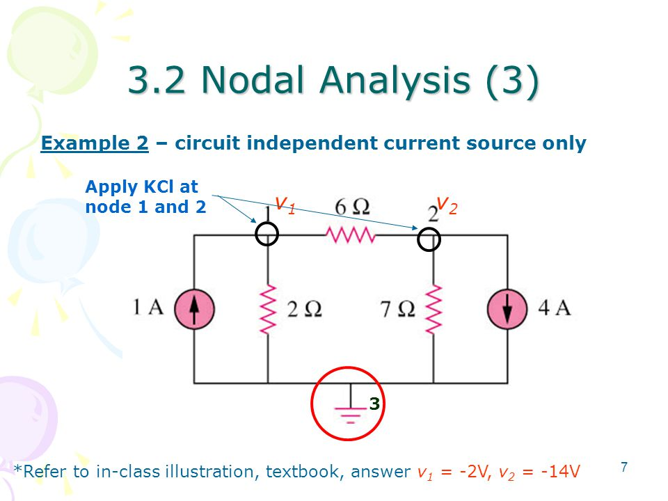 3.2 Nodal Analysis (3) Example 2 – circuit independent current source only. Apply KCl at node 1 and 2.