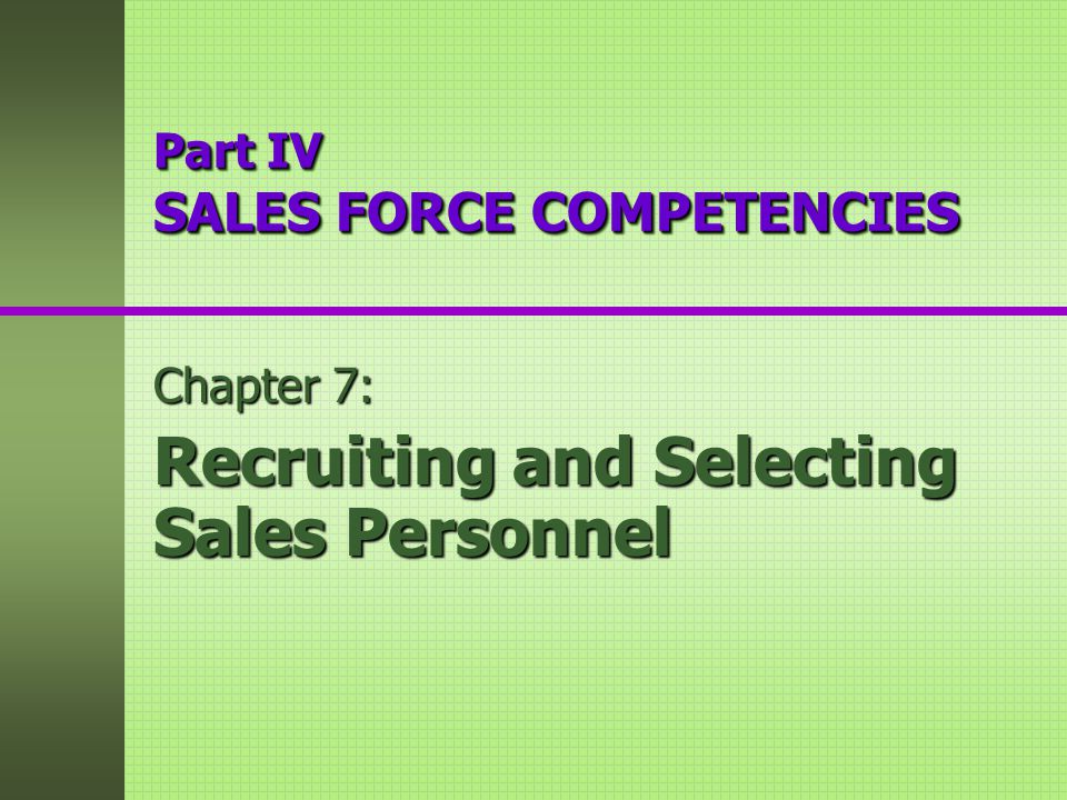 recruiting and selecting sales personnel