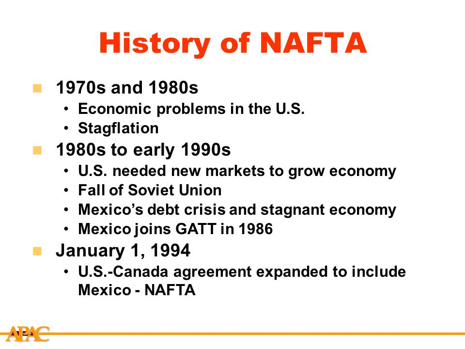 an introduction to the history of nafta After nafta was signed, trade and investment relations between the   introduction to nafta  a brief history of nafta (marketplace apm).
