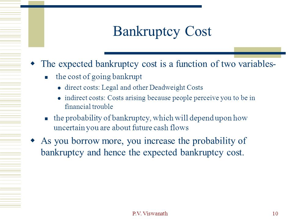 Bankruptcy Cost The expected bankruptcy cost is a function of two variables- the cost of going bankrupt.