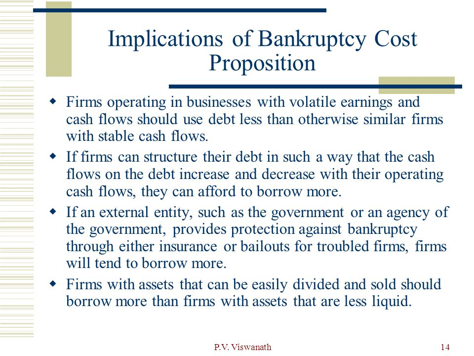 Implications of Bankruptcy Cost Proposition