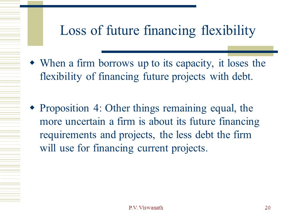 Loss of future financing flexibility
