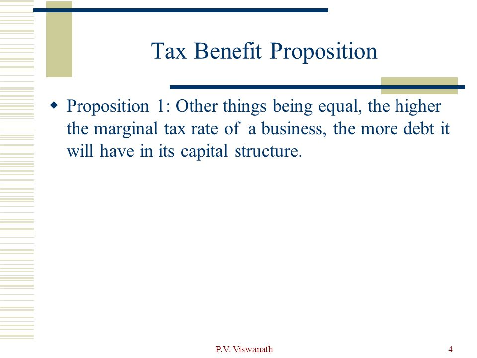 Tax Benefit Proposition