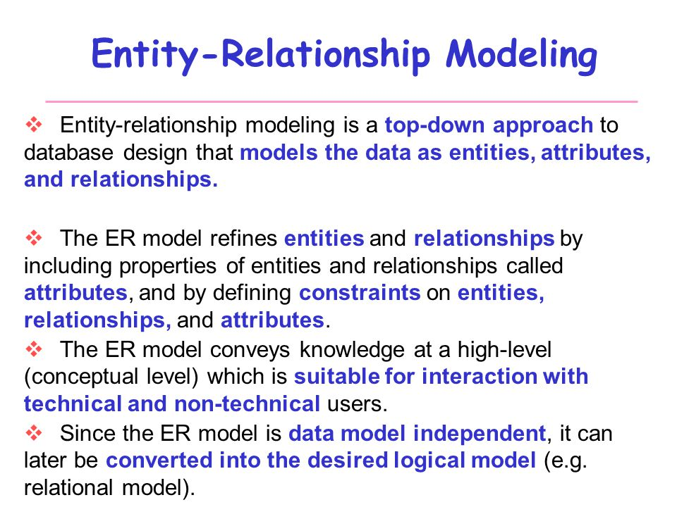entity relationship approach to logical database design