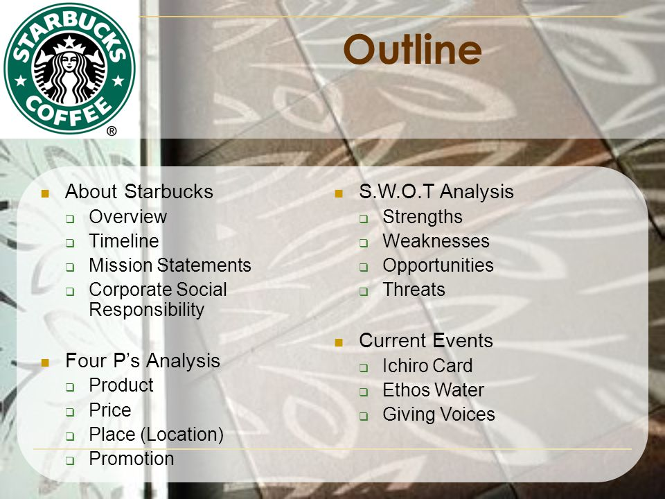 business analysis starbucks mission Starbucks mission statement i choose the company starbucks starbucks mission statement is to inspire and nurture the human spirit – one person, one cup and one neighborhood at a time.