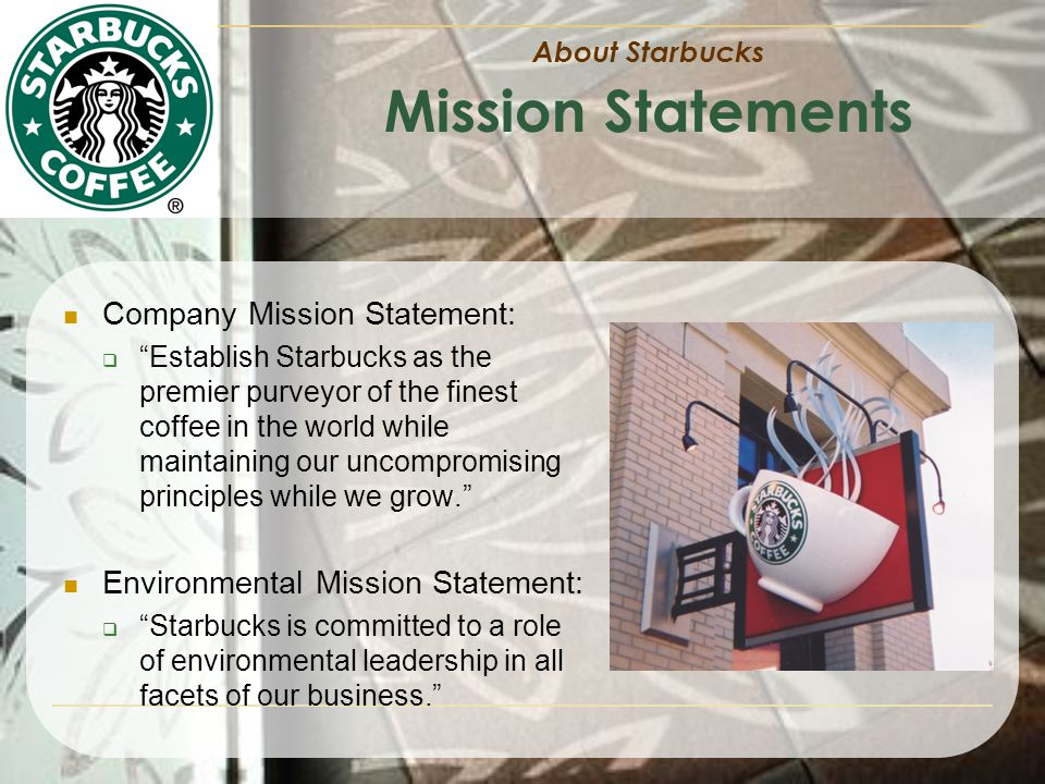 an analysis of starbucks mission statement Two black men were arrested at a starbucks in philadelphia last week,  much  more likely to be concerned with starbucks' earnings statement  and the  actions in it are not representative of our starbucks mission and values, he said   every trading day, real money offers a wealth of insight, analysis.