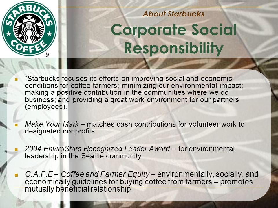 starbucks social responsibility and ethics versus legal obligation Business ethics vs social responsibility businesses aim businesses must still perform its social obligations by performing difference between law and ethics.