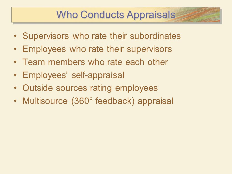 Who Conducts Appraisals