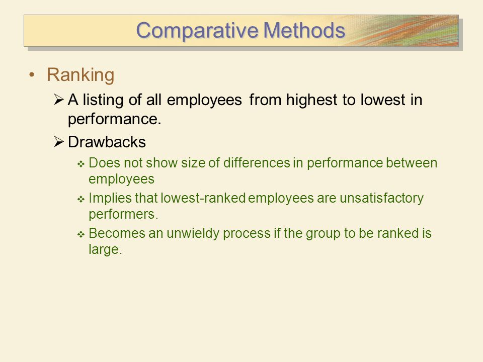 Comparative Methods Ranking