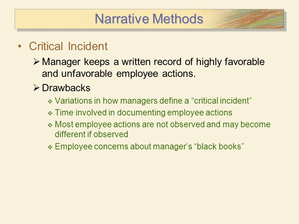 Narrative Methods Critical Incident