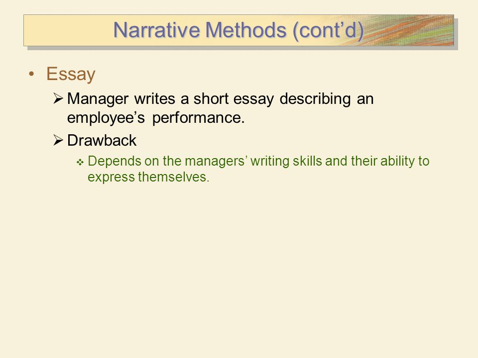 Narrative Methods (cont'd)