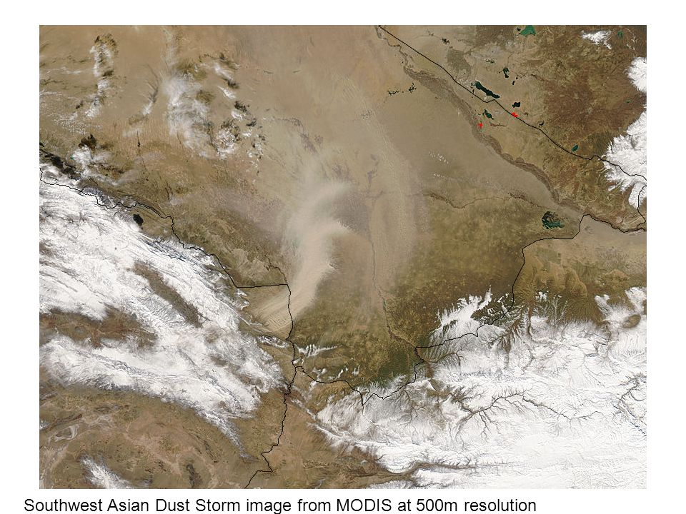 Southwest Asian Dust Storm image from MODIS at 500m resolution