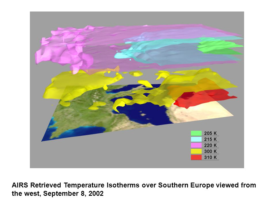 AIRS Retrieved Temperature Isotherms over Southern Europe viewed from the west, September 8, 2002