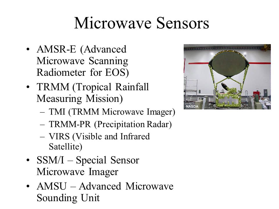 Microwave Sensors AMSR-E (Advanced Microwave Scanning Radiometer for EOS)‏ TRMM (Tropical Rainfall Measuring Mission)‏