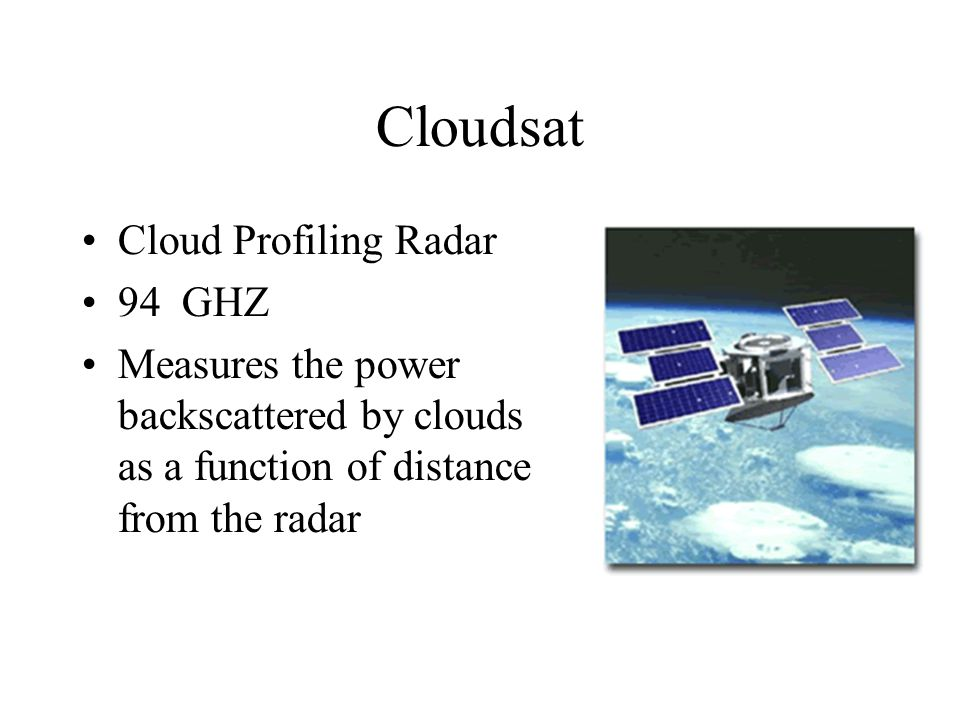 Cloudsat Cloud Profiling Radar 94 GHZ