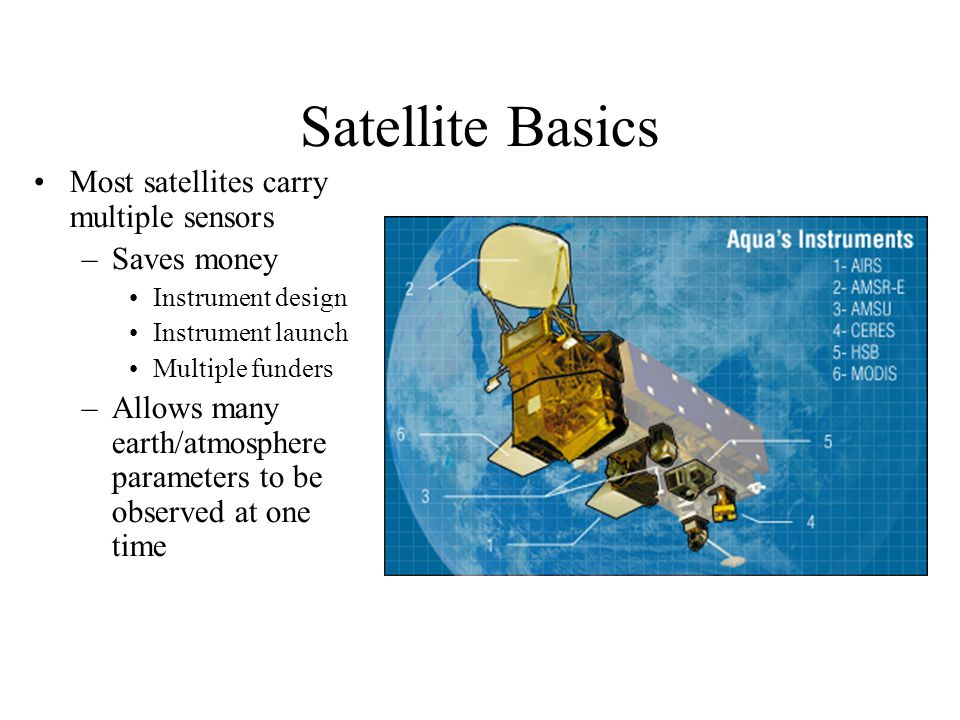 Satellite Basics Most satellites carry multiple sensors Saves money