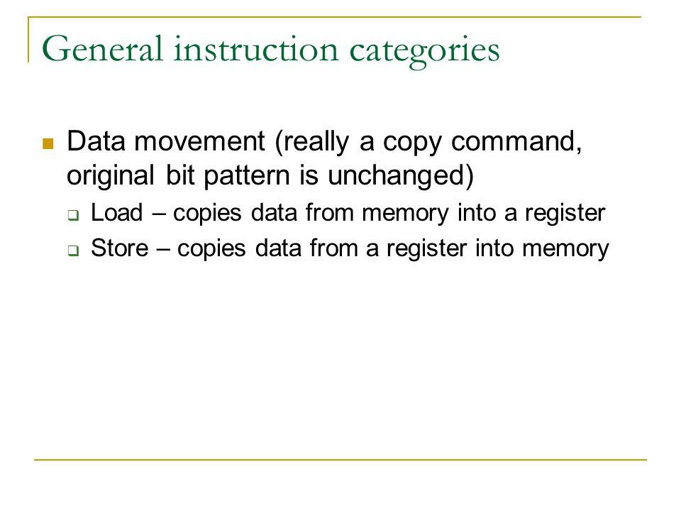General instruction categories