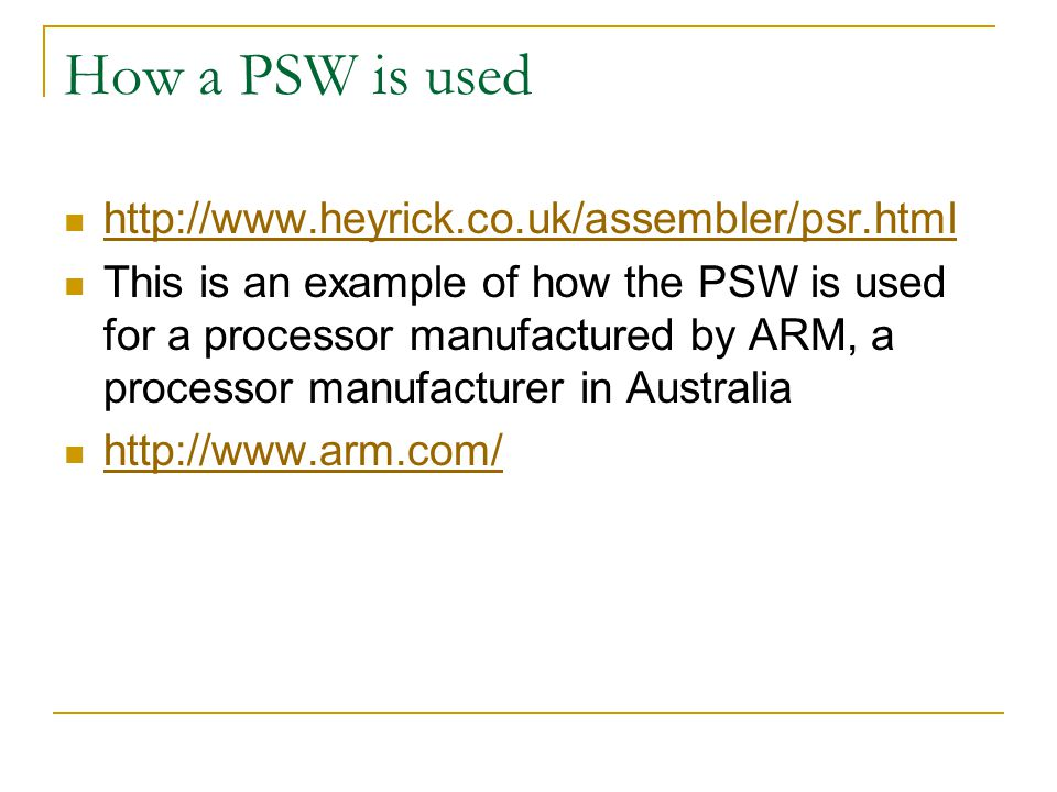 How a PSW is used http://www.heyrick.co.uk/assembler/psr.html