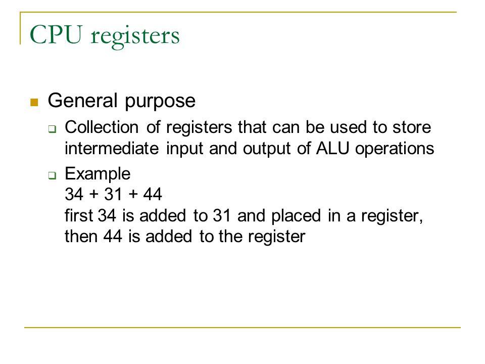 CPU registers General purpose