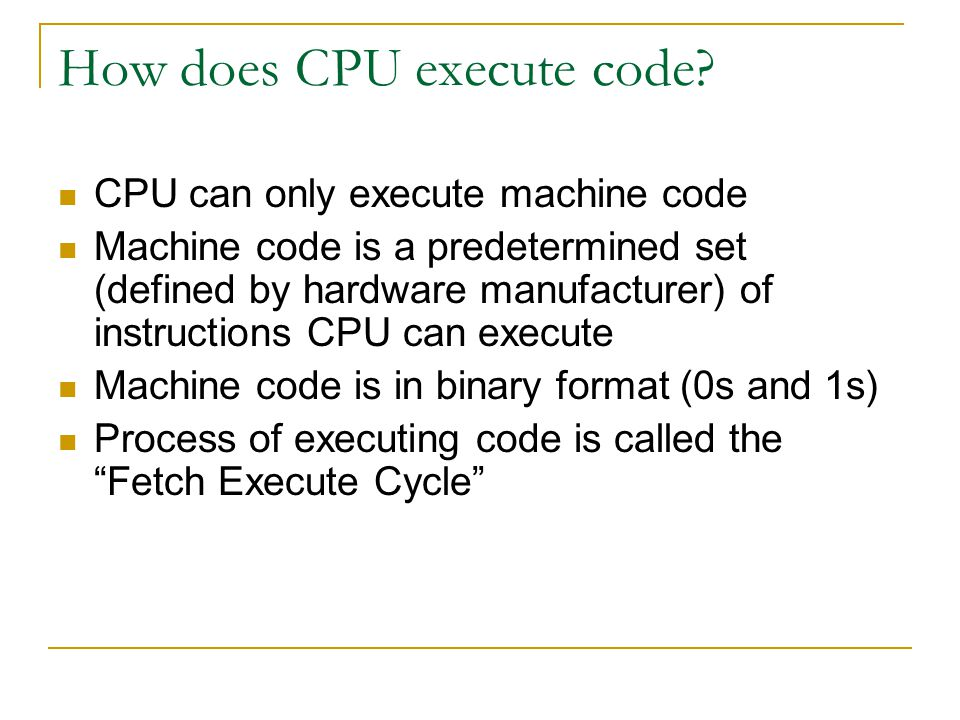 How does CPU execute code