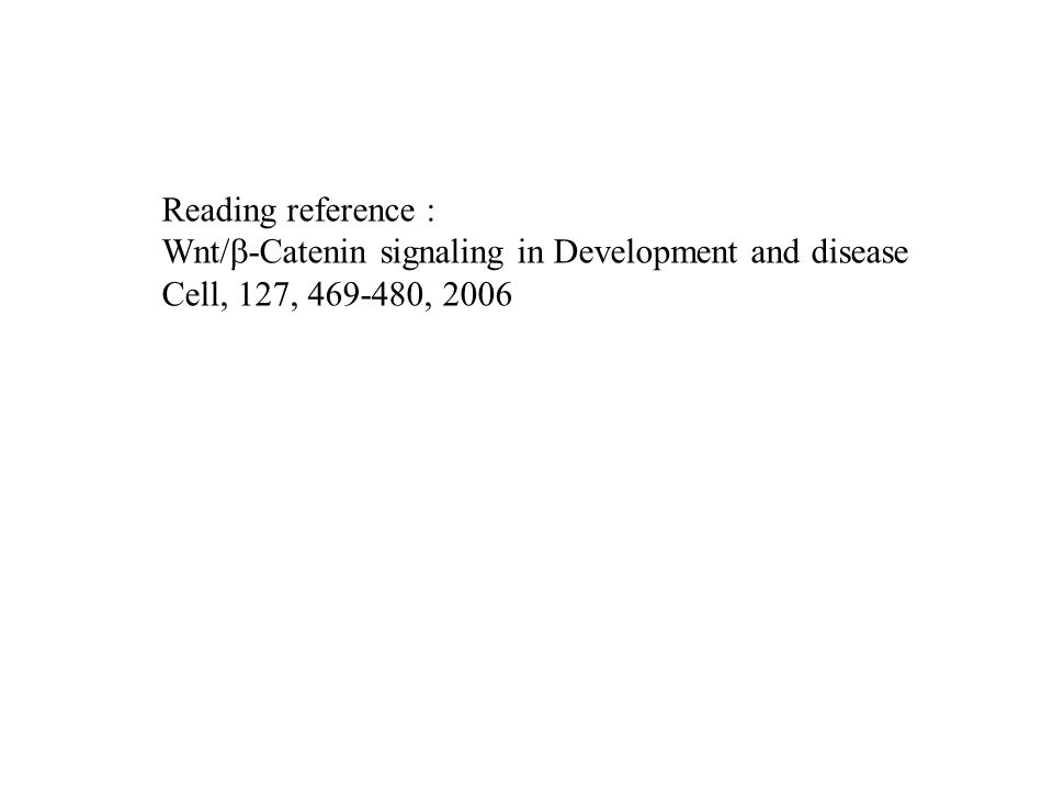 Reading reference : Wnt/b-Catenin signaling in Development and disease Cell, 127, , 2006