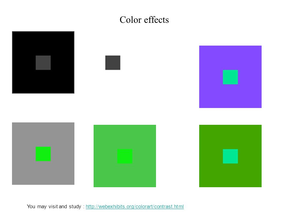 Color effects You may visit and study : http://webexhibits.org/colorart/contrast.html