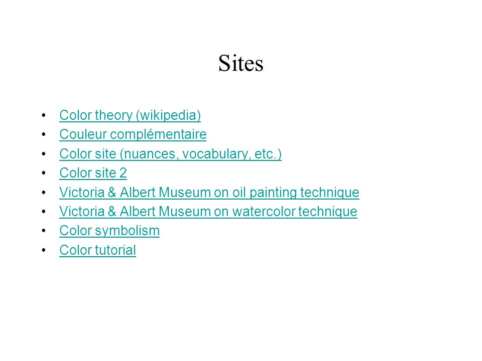 Sites Color theory (wikipedia) Couleur complémentaire
