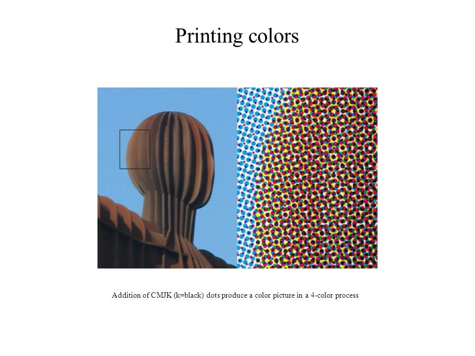 Printing colors Addition of CMJK (k=black) dots produce a color picture in a 4-color process