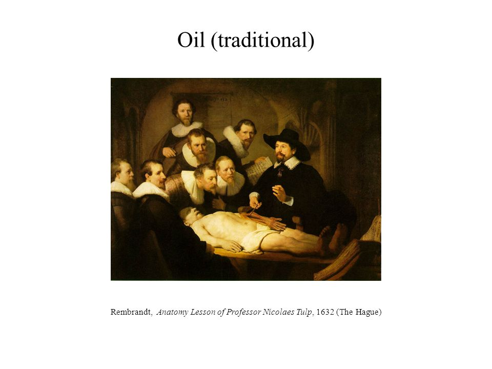 Oil (traditional) Rembrandt, Anatomy Lesson of Professor Nicolaes Tulp, 1632 (The Hague)