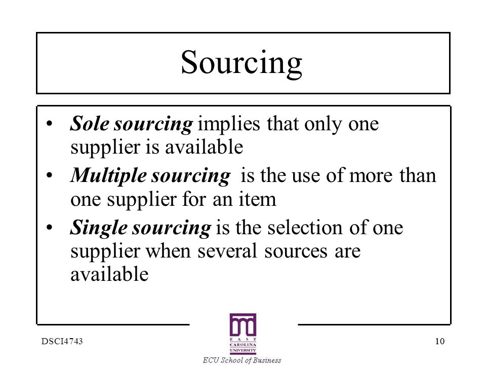 Sourcing Sole sourcing implies that only one supplier is available