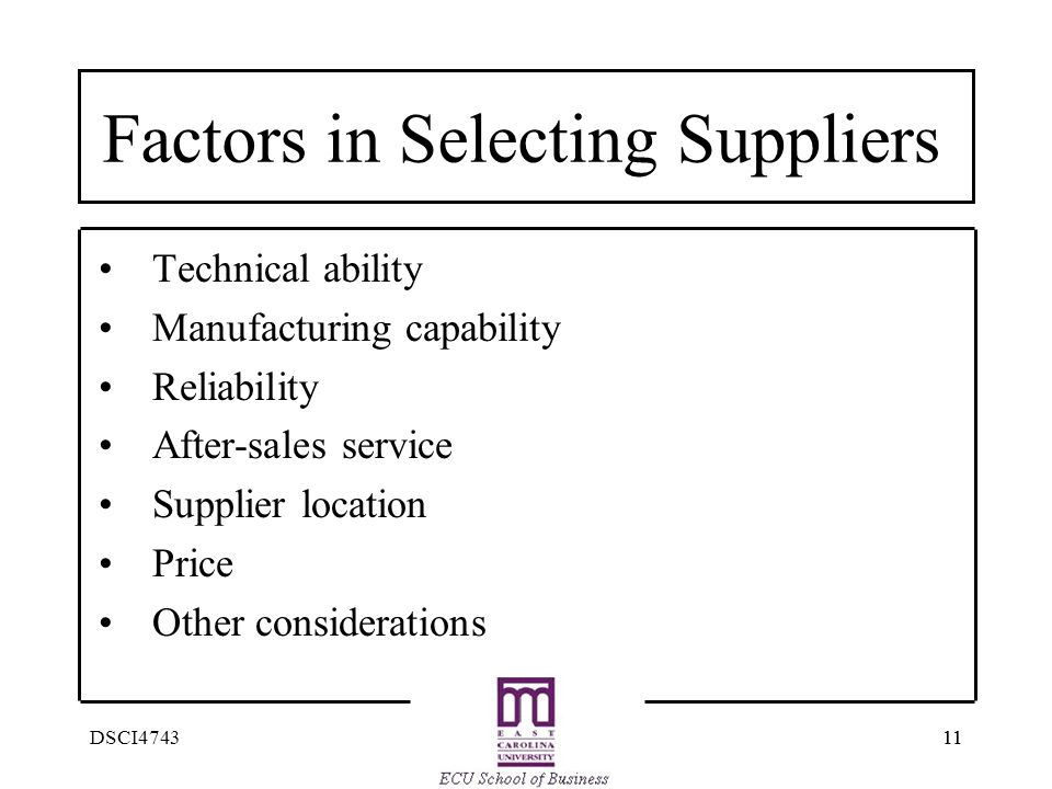 Factors in Selecting Suppliers
