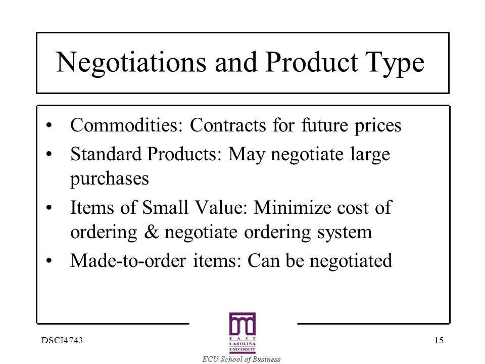 Negotiations and Product Type