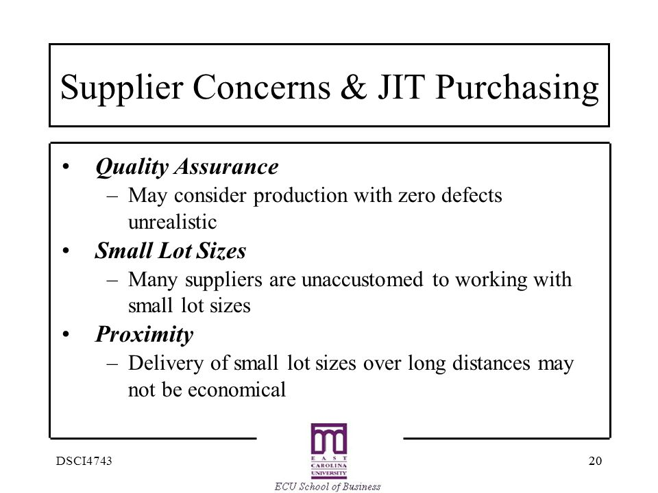 Supplier Concerns & JIT Purchasing