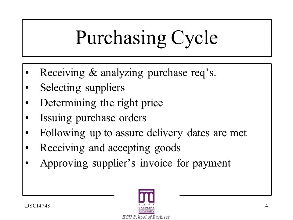 Purchasing Cycle Receiving & analyzing purchase req's.