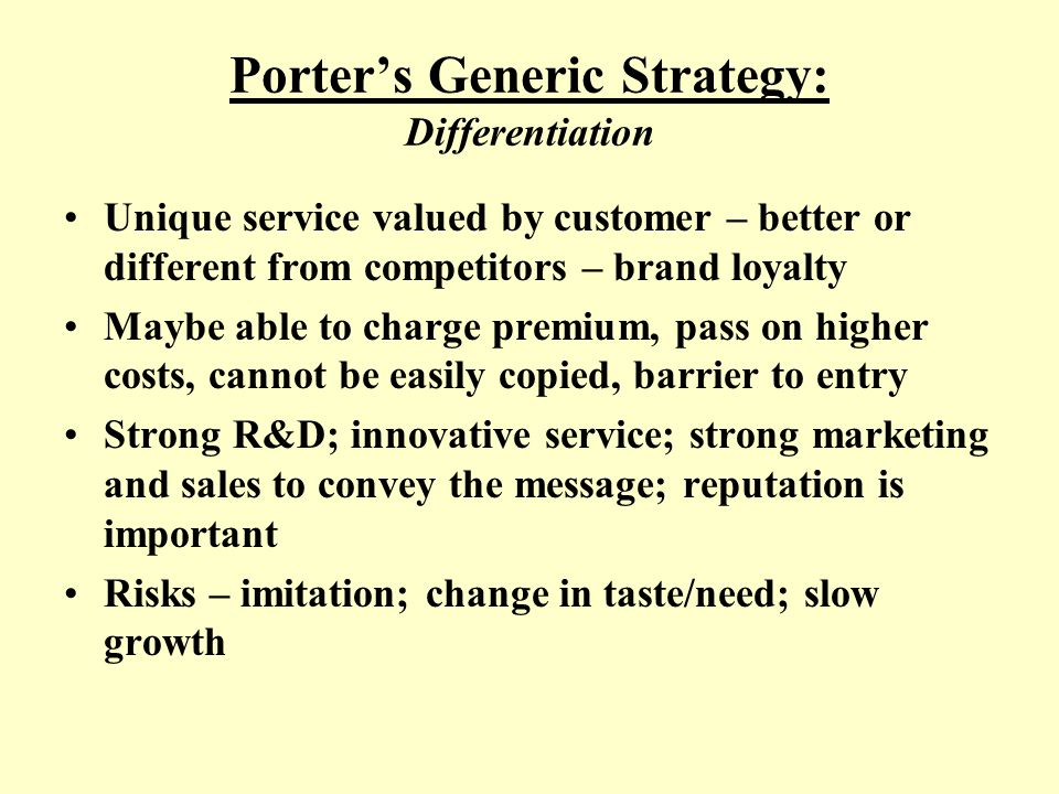 Porter's Generic Strategy: Differentiation