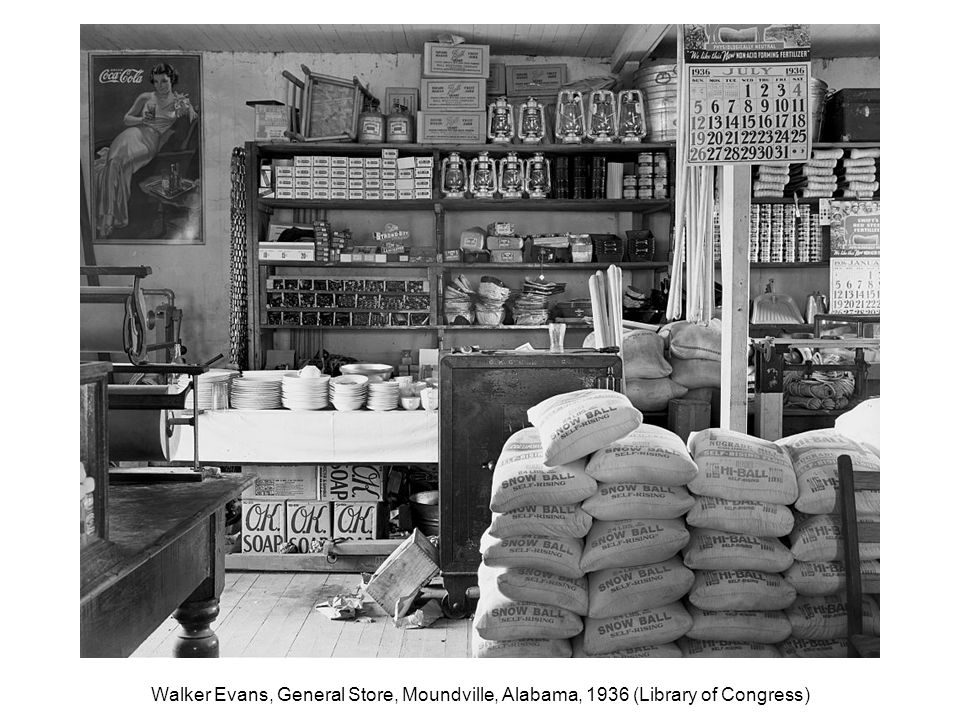 Walker Evans, General Store, Moundville, Alabama, 1936 (Library of Congress)
