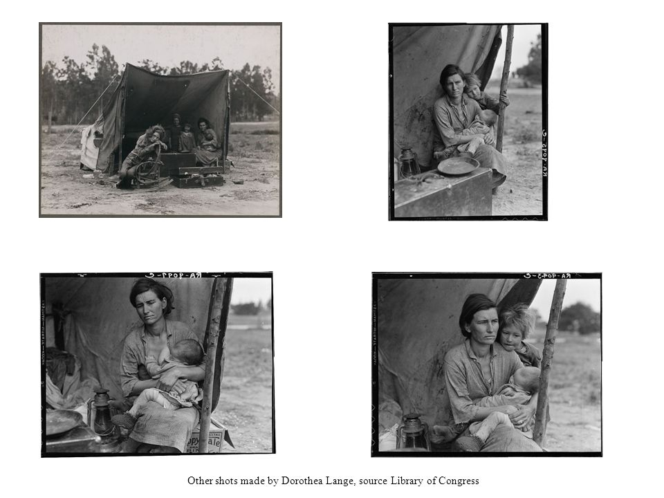 Other shots made by Dorothea Lange, source Library of Congress