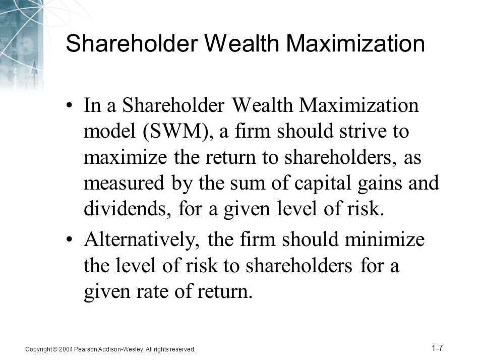 maximization of shareholder wealth The maximization of shareholder wealth william beranek the need for a corporate marginal cost of capital to be used for internal accept-reject.
