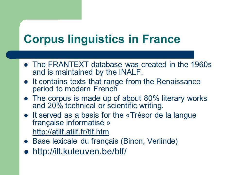 Corpus linguistics in France