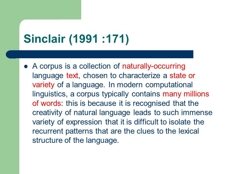 Sinclair (1991 :171)