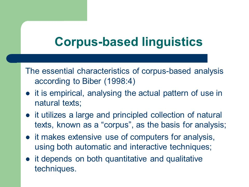 Corpus-based linguistics