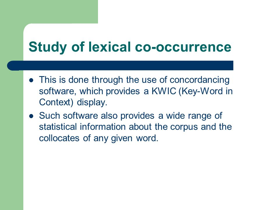 Study of lexical co-occurrence