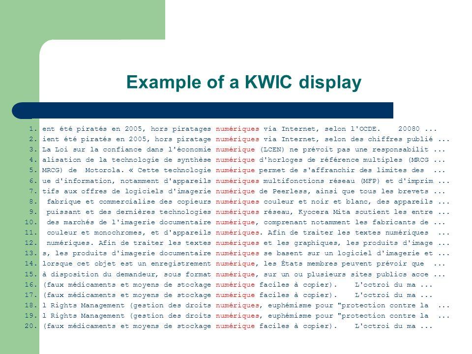 Example of a KWIC display