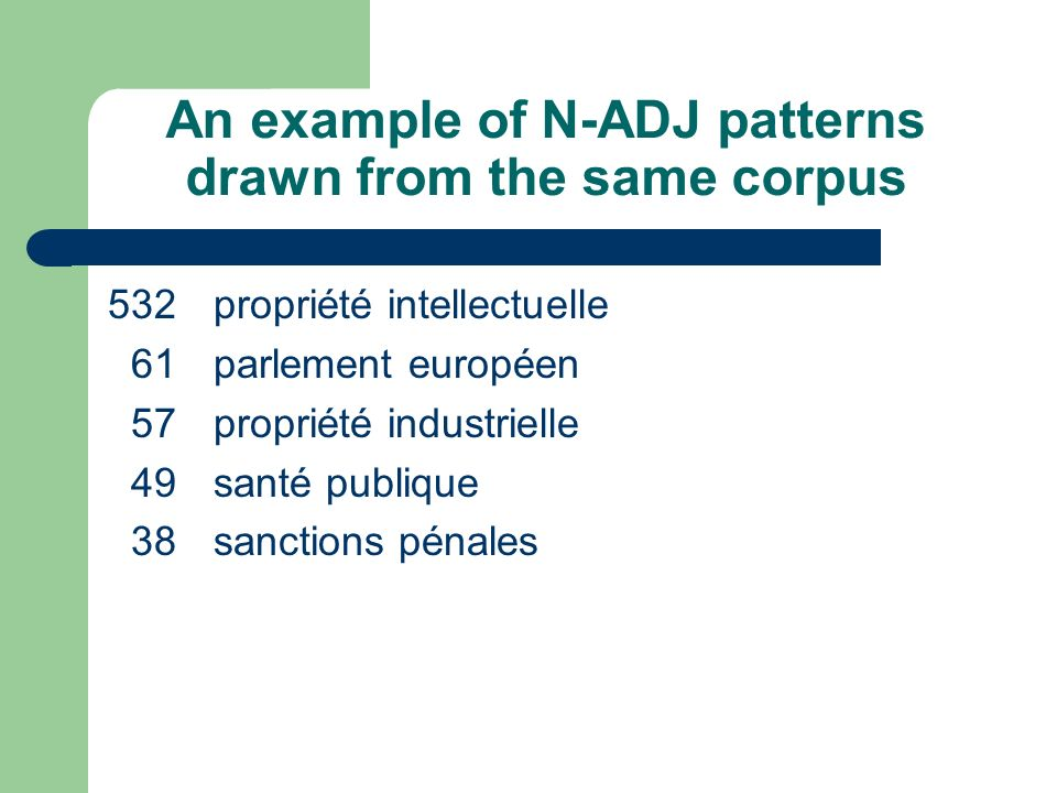 An example of N-ADJ patterns drawn from the same corpus