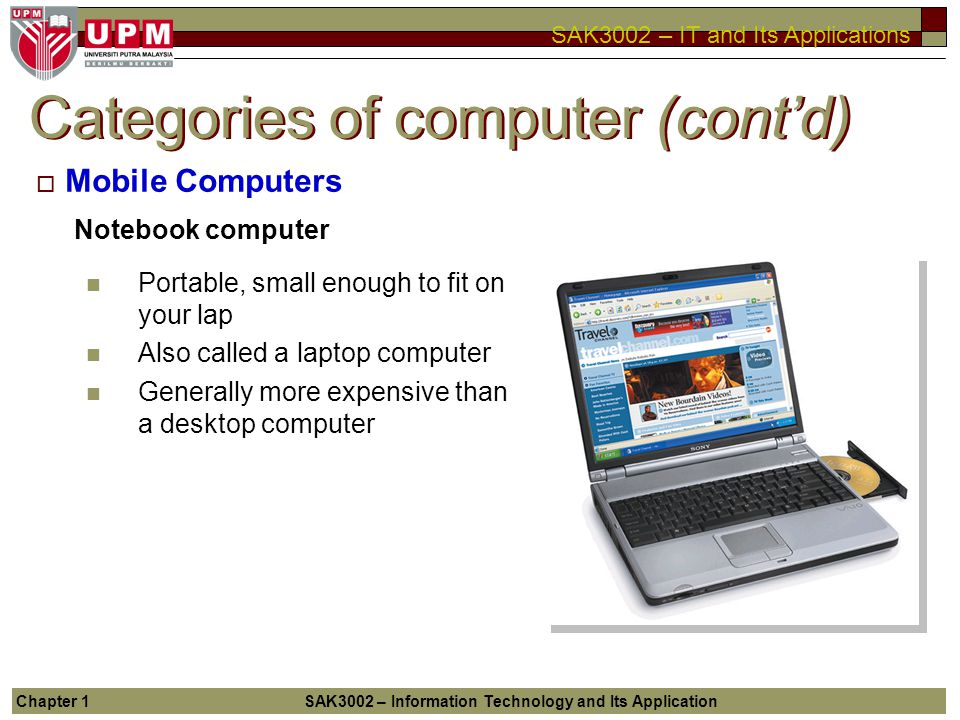 Categories of computer (cont'd)