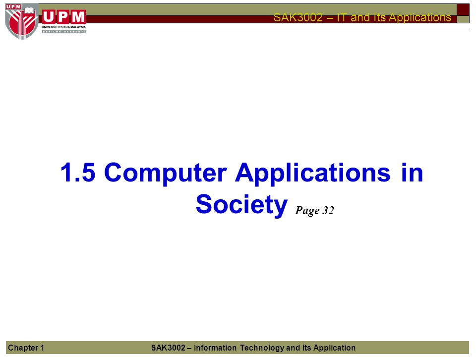1.5 Computer Applications in Society
