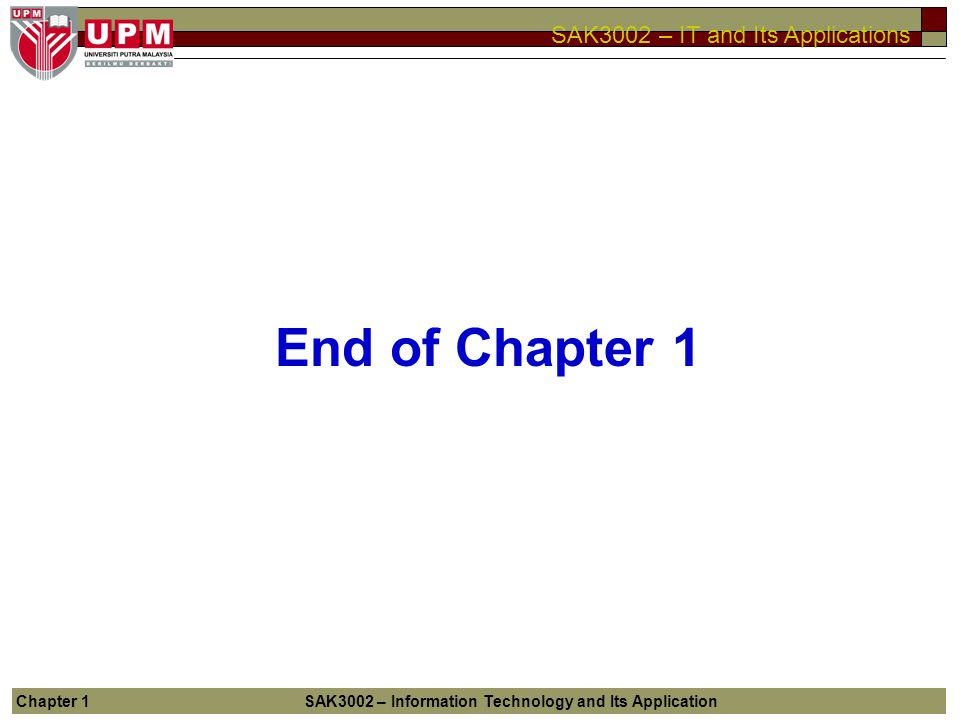 End of Chapter 1 Chapter 1 SAK3002 – Information Technology and Its Application